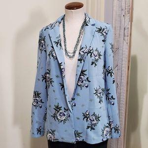 H&M DIVIDED Floral Oversize Blazer Light Blue 6
